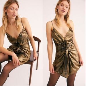 Free People Twist of Gold Mini Dress Sz 8